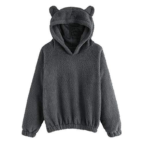 Pullover Hoodie Fleece mit Kapuze MYMYG Sweatshirt Damen Langarmshirt langärmelige Kapuzenpulli Warmer Bären Form flockiger Kapuzenpullover(Grau,EU:36/CN-M)