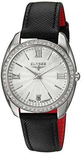 Elysee Womens Analogue Quartz Watch with Leather Calfskin Strap 28600B