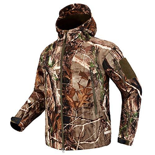 CARWORNIC Herren Tactical Outdoor Jagd Jacke Wasserdicht Softshell Fleece Camouflage Jacken, Herren, Tree Camo Jacket, US XXL (Tag 4XL) (Fleece-camouflage Jacke)