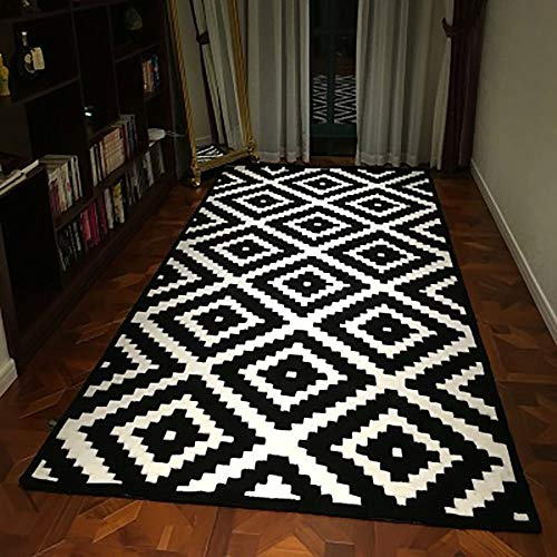 Teppich, Rechteck Mode Home Art Rug Modern Geometric Multifunktionale für Wohnzimmer Sofa Schlafzimmer zum Entspannen Lesen Schwarz und Weiß Large Area Rug in verschiedenen Größen ()
