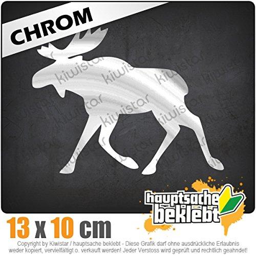 Elch / Schweden 13 x 10 cm IN 15 FARBEN - Neon + Chrom! Sticker Aufkleber