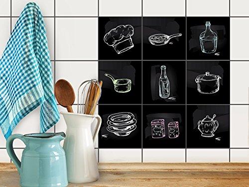 Fliesenmuster Deko-Folie | Fliesen-Folie Sticker Aufkleber selbstklebend Badezimmer renovieren Küche Dekoration Küche | 20x20 cm Design Motiv Kochspaß - 9 Stück