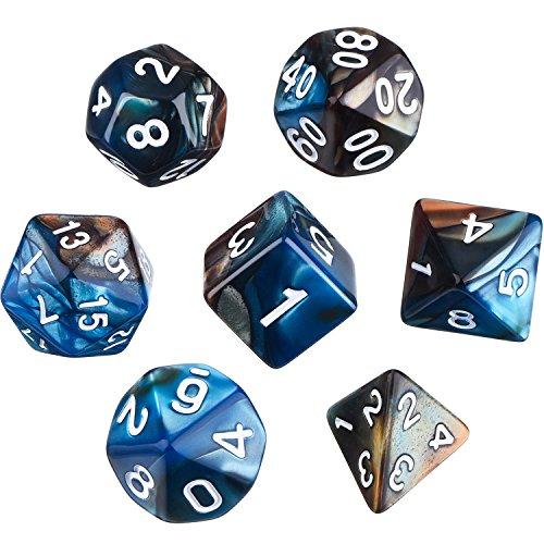 Polyedrische 7- Würfel- Set für Dungeons und Dragons mit Schwarz Beutel (Blau Braun)