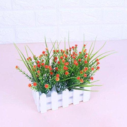 Flikool Gypsophila Künstlich mit Zaun Künstliche Blumen Topfpflanzen Falschung Bonsai Kunstblumen Blumenarrangement Faux Künstliche Pflanzen Ornaments für Dekorationen 16 * 7 * 15 cm - Orange