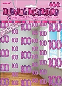 Unique Party- Paquete de 6 Decoraciones cumpleaños, Color rosa, edad 100 (55382)