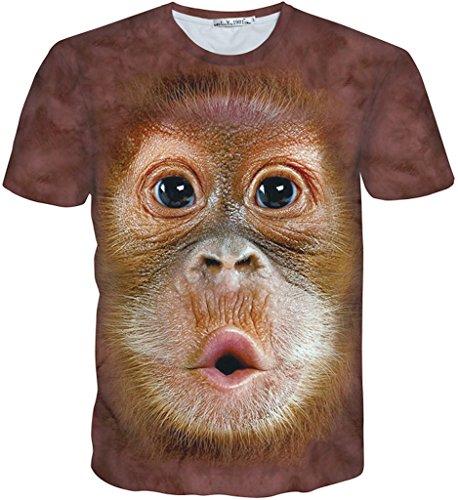 Pizoff Unisex Sommer leicht bunt bequem cool Digital Print T Shirts mit Galaxy Schädel Blume Leopard Tiger Katze Schwein Pommes Batman Cartoon 3D Muster Y1730-K3-XL (Print Tiger T-shirt)