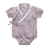 Tyoby Baby Bodys Unisex Retro ischer Yukata-Bandage-Kimono-Overall Baby Spielanzugriemen (Lila,80)
