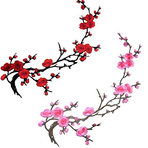 Bestim incuk 2Stück Blumen Iron On Patches Stickerei-Applikation Patches für Jeans, Jacken, Kleidung, Taschen, rot und pink plum blossom -