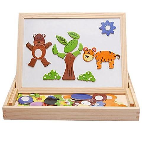 Fantastique apprentissage & Education animal Puzzle magnétique d'écriture de dessin Jouets Conseil en bois pour enfants Imagination