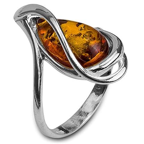 Noda bague en ambre et argent goutte taille