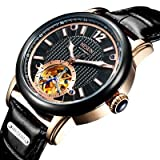 Binger Skeleton Tourbillon Automatic Self-Wind Leather Watch for Men - N9033-Black Rose Gold