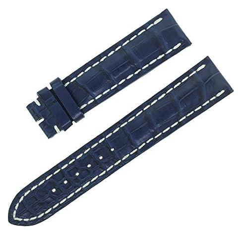 Breitling 718p Bleu Sangle 20–18mm avec coutures blanches pour homme Bracelet de montre