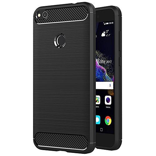 AICEK Funda Huawei P8 Lite 2017, Negro Silicona Fundas para Huawei P8 Lite 2017 Carcasa P8 Lite 2017 Fibra De Carbono Funda Case
