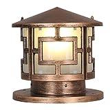 WSXXN Continental Retro Villa Im Freien Wasserdichte Spalte Lampe Straßenlaterne Post Licht Säule Zaun Hof Außenleuchten (Farbe : Messing-Durchmesser 25cm)