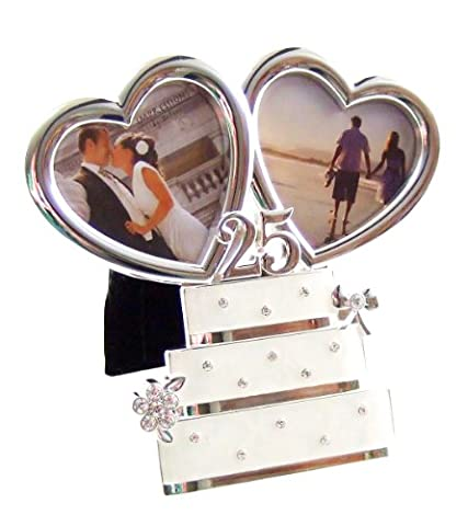 Silver Plated Heart / Wedding Cake 25th Anniversary Double Photo