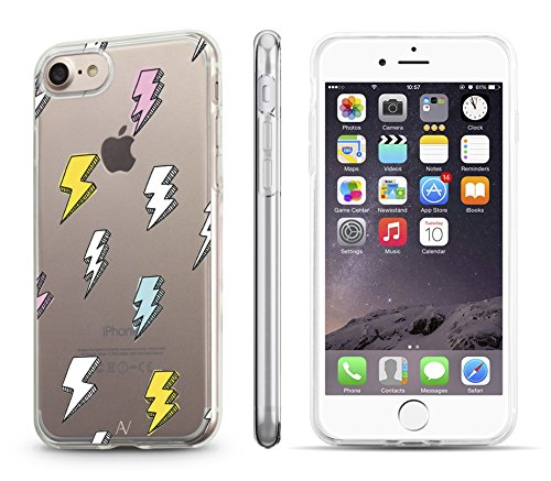 iPhone 7 / iPhone 8 Hülle AVANA® Schutzhülle flexibles Case Etui Schutz durchsichtige Tasche transparente Silikon + TPU Schale Apple Handyhülle Cover Motiv (Flamingo) Blitze