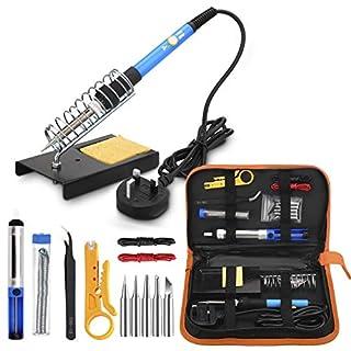 Soldering Iron, Anbes Soldering Iron Kit 60W Adjustable Temperature Welding Tool, 5pcs Soldering Tips, Desoldering Pump, Soldering Iron Stand, Tweezers