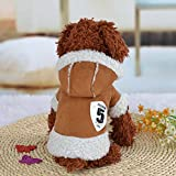 OULII Haustierkleidung Winter Warm Fell Hund Welpe Hündchen Pyjamas Kleidung kleine Welpen Hoodie Jacke Jacke Baumwolle gepolstert Custome Apparel - Größe M (Kaffee)
