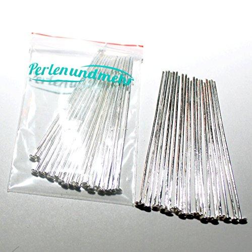 Nietstifte/Kettelstifte/Prismenstifte mit Flachkopf versilbert (180011) 49x0,7mm 80Stk.