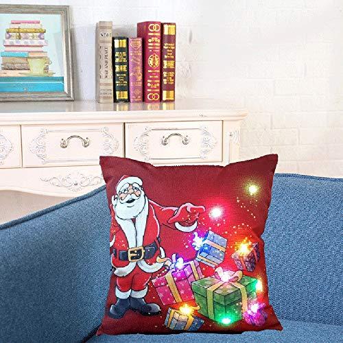 Weehey 18 * 18 Pulgadas Lino Colorido LED Luz Feliz Navidad Funda de Cojín Sofá Decorativo...