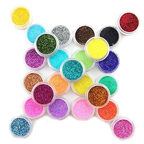 Mode Galerie 25 Couleurs Paillettes Nail Art Tips Outils Acrylique UV Poudre Poussière Manucure Ongles Kit