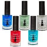 Olio per unghie in una bottiglia di pennello Set N°3, Vanille, Kiwi, Almond, Strawberry, Jasmin 5x10ml
