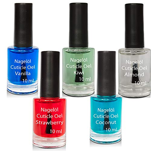 Nagelöl in einer Pinselflasche Set N°3, Vanille, Kiwi, Almond, Strawberry, Coconut, 5x10ml