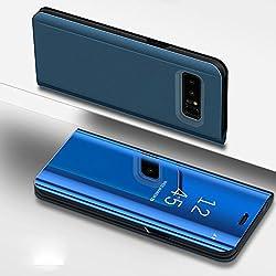 SainCat Coque Galaxy S6 Edge Plus Miroir Portefeuille, Ultra Slim Coque Cuir PU et Plastique Rigide Portefeuille Miroir Anti Choc Coque pour Samsung Galaxy S6 Edge Plus-Bleu