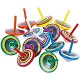 6Pcs Newin Star Trottola in Legno Giocattolo per Bambini Trottolina Colorata