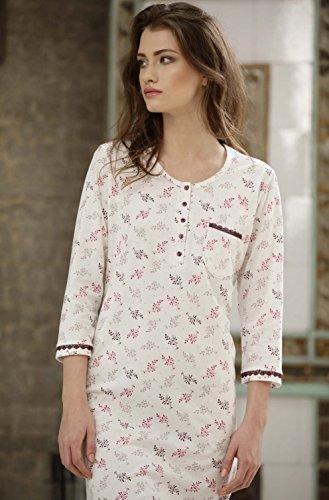 CANA nouvelle klassisches Nachthemd in elegantem Design aus 100% Baumwolle, made in EU Weiß/Brombeer