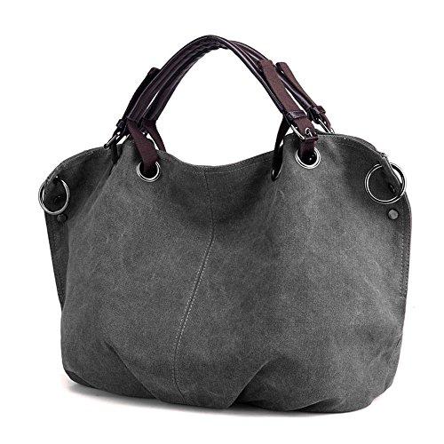 RERI Damen Multifunktionen Canvas Handtasche Schultertasche Retro Stil große Kapazität für Party, Reise, Alltag, Arbeit (Grau)