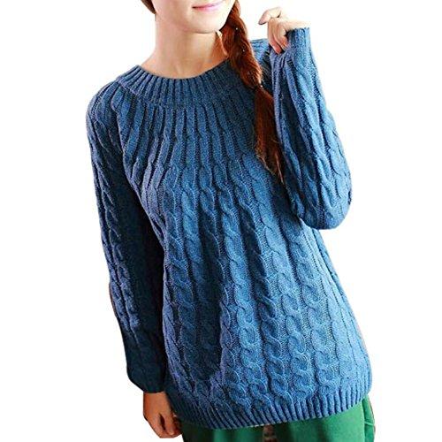 Balai Maglia manica lunga donna maglia a maglia Maglia cappotto Maglione Pullover Cardigan Blu