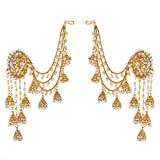 #10: prita 18K Gold Plated White Polki & Pearl Jhumka Earrings For Women