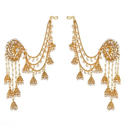 Prita's Party Wear 18k Gold Plated White Polki & Pearl Bahubali Jhumki/Jhumka Earrings For Girls and Women