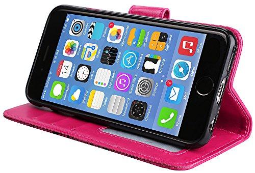 Coque Iphone 5S Neuf, Iphone SE Accessories, Iphone 5S Coque silicone, Iphone 5 Coque silicone, Nnopbeclik® Mode Fine Folio Wallet/Portefeuille en Bonne Qualité PU Cuir Housse pour Iphone 5/5S/SE (4.0 rose