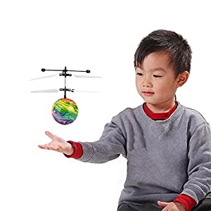 TUDUZ Best price Chinese style Flash Flying Ball Infrared Induction Colorful LED Disco RC Toy Helicopter flying Ball sphere drone toy Built-in LED Shinning light remote control for Kids teenagers RC Aircraft Flying Toy Drone Gift by TUDUZ