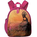 Lovely Schoolbag Kokopelli in The Southwest Double Zipper Waterproof Children Schoolbag with Front Pockets for Youth Boys Girl