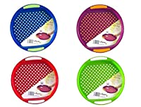 Anti Slip Plastic Serving Tray High Grip Rubber Surface Non-slip Padded Base 4 Colours - Blue/Red/Purple/Lime