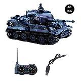 YouCute Mini RC Panzer mit USB Ladekabel Fernbedienung Panzer Panzer 1:72 Deutscher Tiger I mit Sound, Rotierendem Revolver und Rückstoß Aktion mit deutsches Handbuch 40MHz (Blau B)