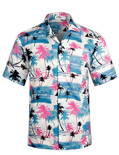APTRO Herren Hemd Hawaiihemd Freizeit Hemd Kurzarm Urlaub Hemd Reise Shirt HW009 XXL