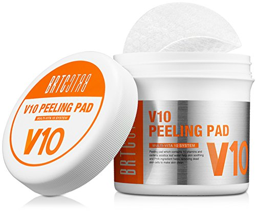 Pore Cleansing Wipes (BRTC V10 Peeling Pad (80 Tücher), 10 Vitamine & Centella Asiatica Leaf Water Hilfe bei Hautberuhigung und Pha hilft beim Entfernen von abgestorbenen Hautzellen (150 ml) - 80 Count)