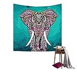 QEES Elefant Wandteppich mit Böhmischem Stil Indisch Hippie Wanddeko Wandbenhang Wandtuch Tischdecke Dekoration für Schlafzimmer Wohnzimmer usw GT02 (Grün)