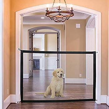Grille de Protection pour clôture d'escalier de Chien - 180 x 72 cm Hundr Baby Pet Mesh Magic Gate barrière d'escalier Portable Garde gardée de la Cuisine/à l'étage