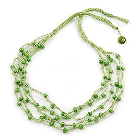 Multistrand Lime Green Wood Beaded Cotton Cord Necklace - 80cm