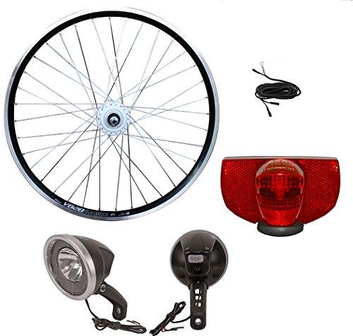 28 Zoll Vorderrad Laufrad SHIMANO Nabendynamo Umrüstset mit Vorderlicht, Rücklicht und Dynamokabel
