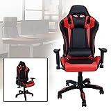 HG® Silla Giratoria De Oficina Gaming Chair Apoyabrazos Acolchados Premium Comfort Silla Racing Capacidad De Carga 200 Kg Altura Ajustable Negro / Rojo