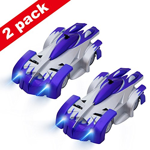 SGILE Pack of 2 Remote Control RC Wall Climbing Climber Rocket Toy Car Racer Blue - Can Race Together.