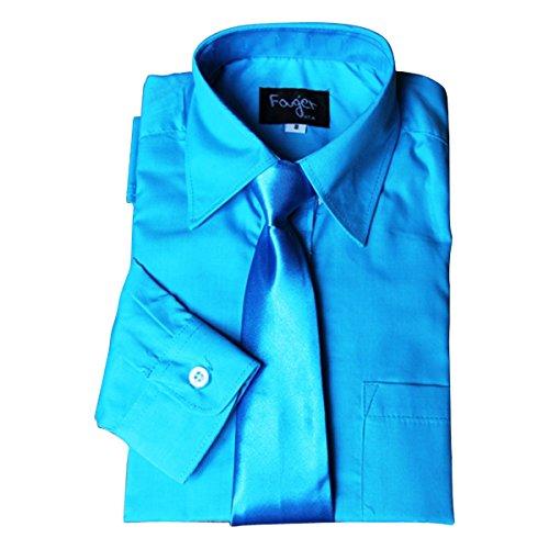 BIMARO Jungen Kinderhemd mit seidener Krawatte türkis blau klassisch Hemd langarm festlich Weihnachten Hochzeit Kommunion Taufe, Größe:14 (170/176)