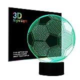 3D LED Licht Nachtlicht Optische Täuschung Lampe Schreibtischlampe Tischlampe 7 Farben ändern Touch Control für Kinder Familie Ferienhaus Dekoration Valentinstag Weihnachten beste Geschenk (Fußball)