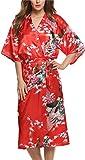 Avidlove - Robe de chambre type kimono, à fleurs - Femme -M - Rouge